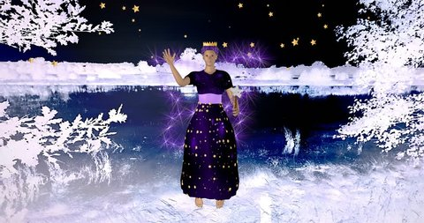 Christmas woman with magic wand in nightly winter landscape