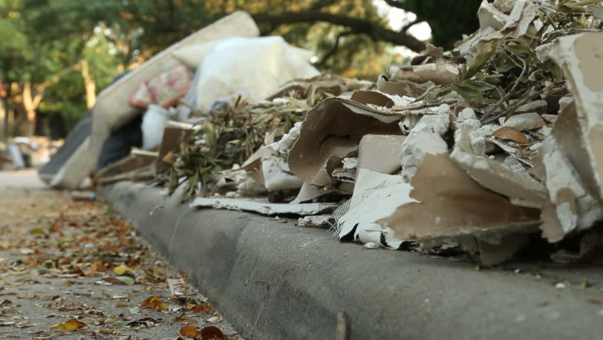 Hurricane Debris on Sidewalk