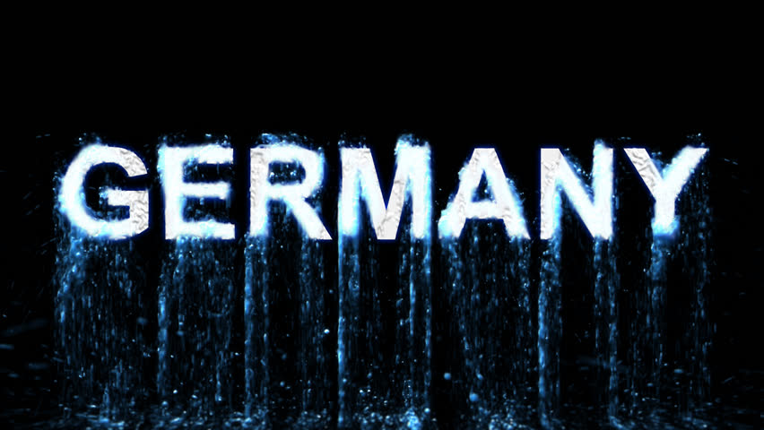Country name GERMANY arises from blue water. Transparent alpha channel. 3D rendering | Shutterstock HD Video #32773309