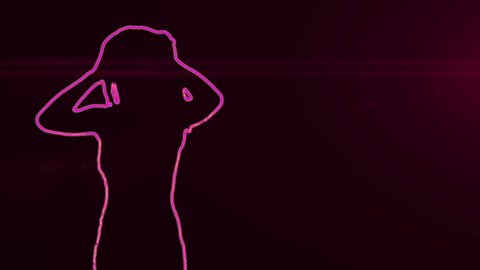neon outlined gogo dancer silhouette in pink with lens flares