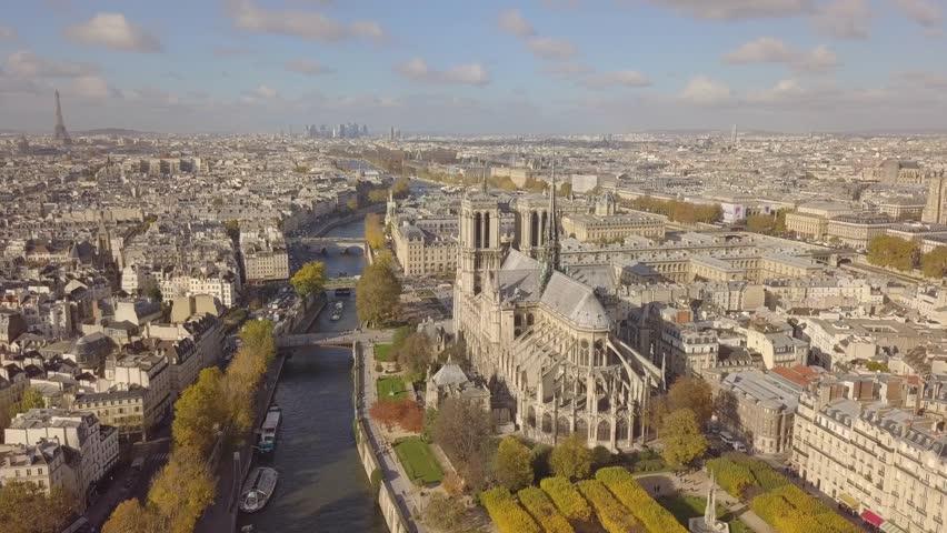 Cityscape of Paris. Aerial view of Notre Dame de Paris Cathedral | Shutterstock HD Video #32785774