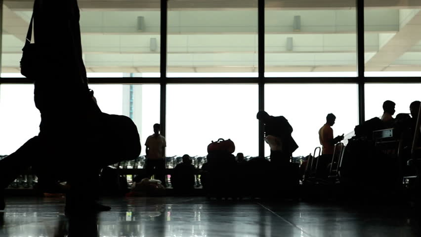 evening in the airport in time lapse close up shot