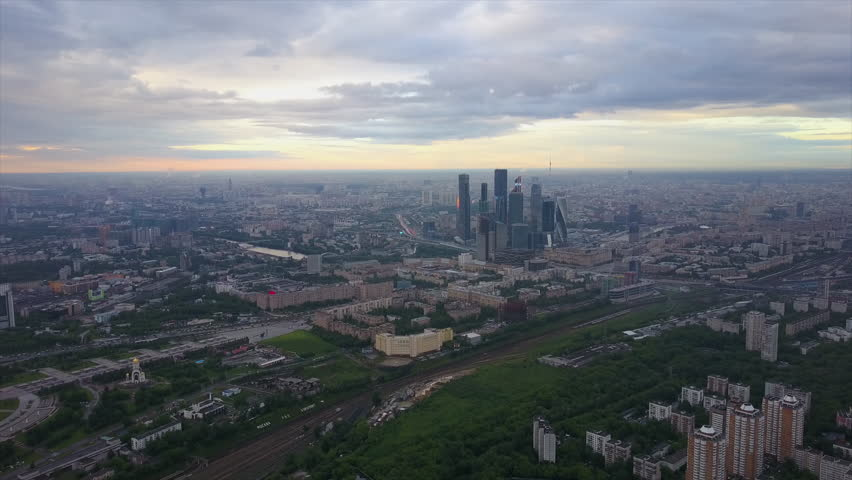 Sunset sky modern moscow city high aerial panorama 4k russia | Shutterstock HD Video #32808889