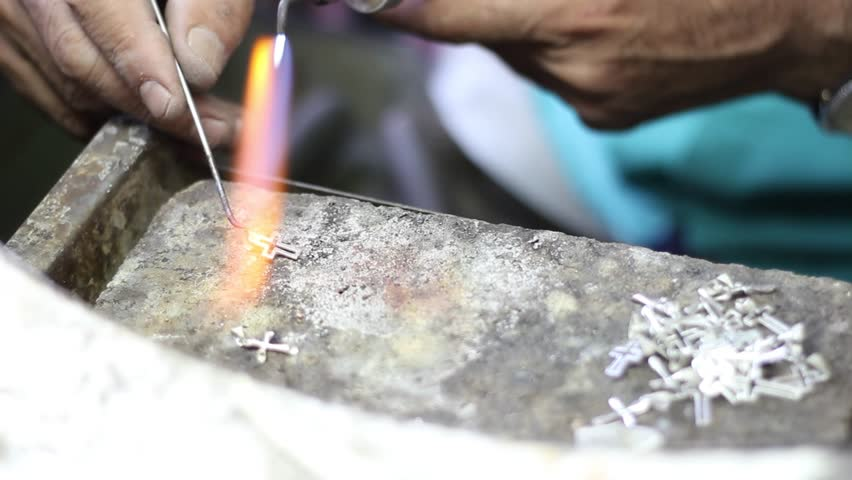 Soldering of silver, Manufacture of carved articles from silver by hands, handwork on silvers in Armenia, decoration of manual production of silverware.Armenian silver production. UHD.