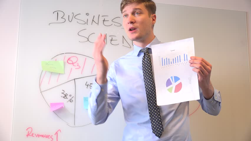 Professional business person male showing chart corporate meeting management job | Shutterstock HD Video #32836495