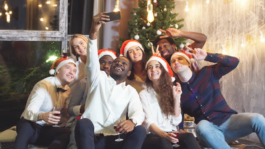 Smiling Group Of Friends Celebrate Evening Event With Selfie At Christmas Party. | Shutterstock HD Video #32838919