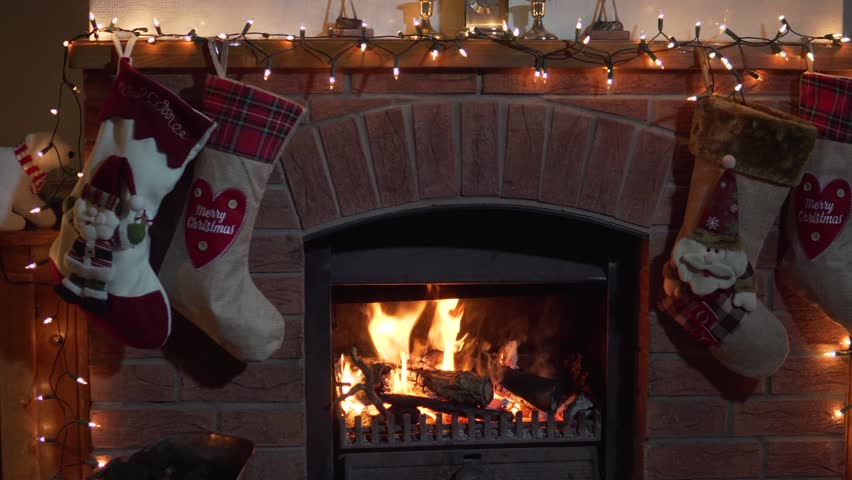 Christmas Fireplace Screen.Christmas Fireplace Stockings Hanging With Stock Footage Video 100 Royalty Free 32875549 Shutterstock