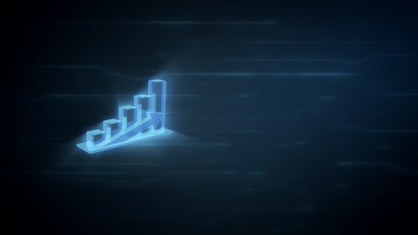 3d chart showing profit, spinning in 360 degree on a blue digital background with light effects, loop animation with place for other content | Shutterstock HD Video #32895070