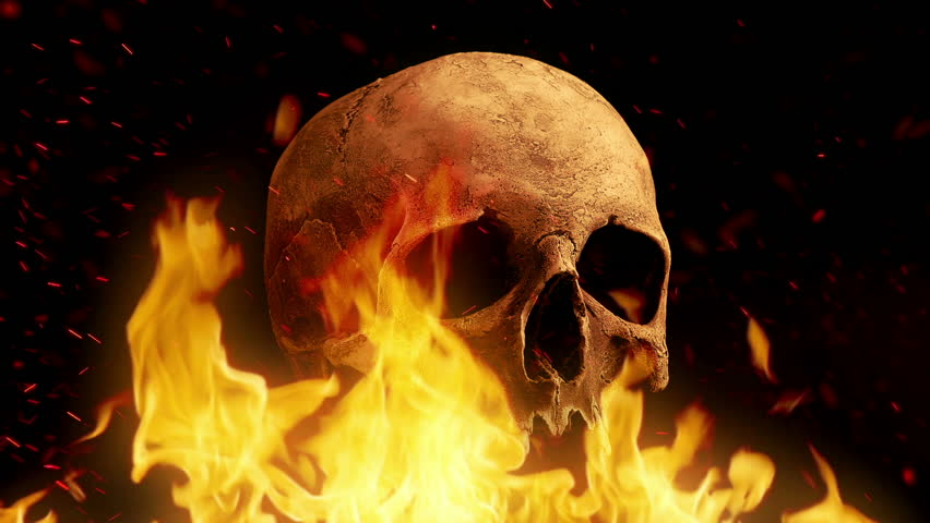 Skull Rotates In Fire