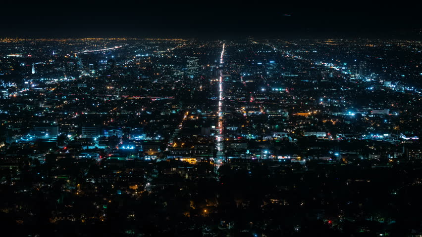 Beautiful view of Los Angeles from Griffith Observatory. Shinning city lights and traffic. California. Timelapse. Loopable.  | Shutterstock HD Video #32946781