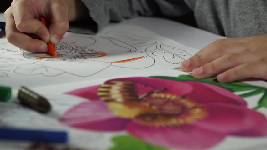 Child paints coloring with crayons   Shutterstock HD Video #32975623