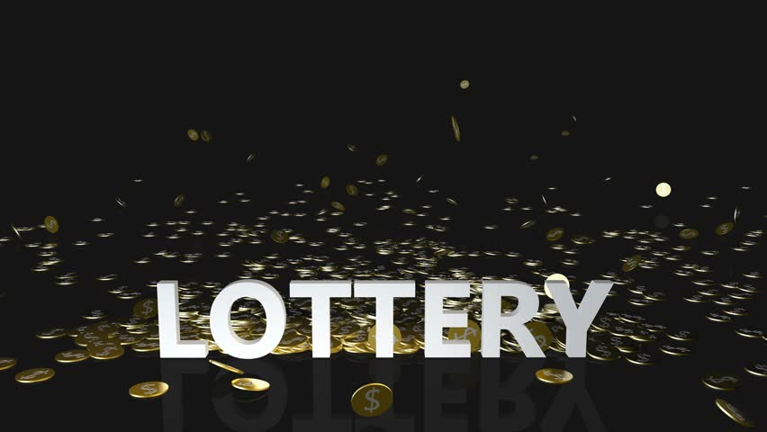 Lottery Concept with Gold Coins Falling From the Sky