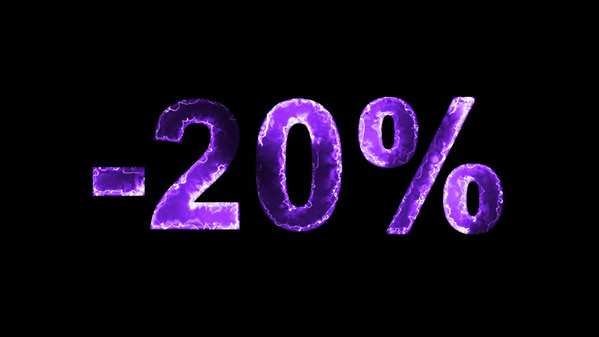 Luminous and shimmering haze inside the letters of the sale, discount, price, promotion, offer, promo, marketing, percent, tag, sale tag, -20%. Transparent, Alpha channel | Shutterstock HD Video #33019810