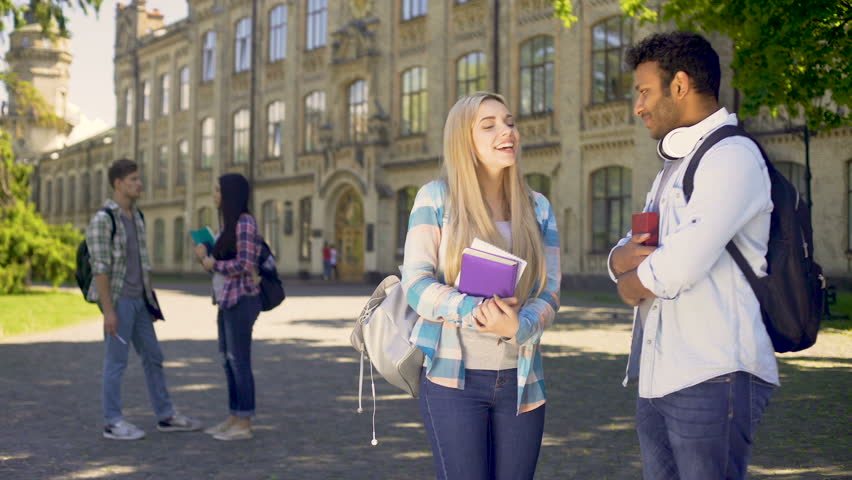 Cheerful mixed-race students actively communicating with each other, friendship | Shutterstock HD Video #33020536