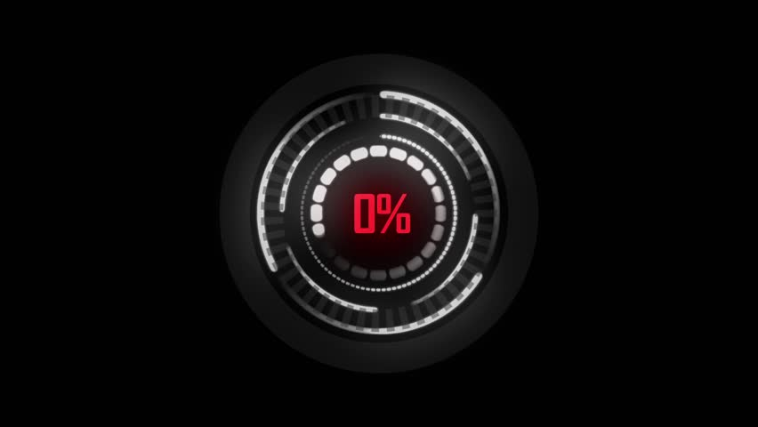 Science Futuristic Loading Circle Ring.  Loading Transfer Download Animation 0-100% in yellow red science effect.  Grow red light loading futuristic circle ring orb bar animation on black screen.