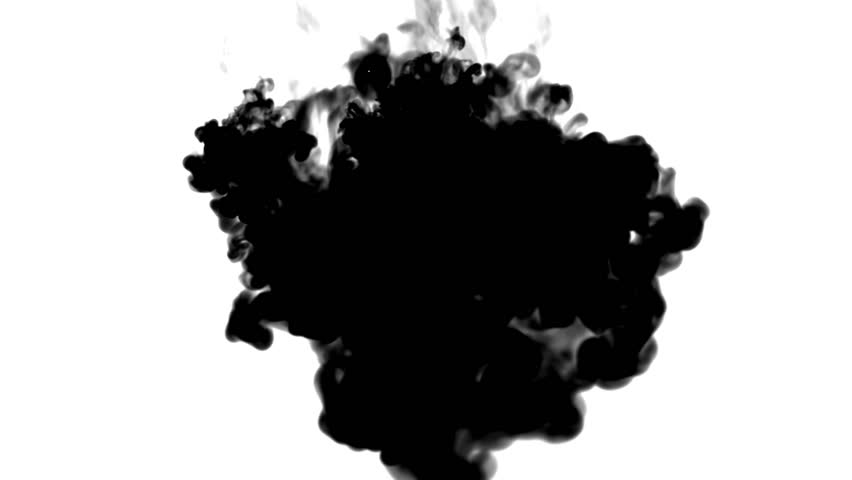 Black ink flows on white moving in slow motion, ink or smoke inject . Black tint spray in water for Inky or smoky background or ink effects. Use luma matte like alpha mask or alpha channel | Shutterstock HD Video #33121120