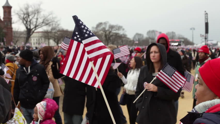 WASHINGTON, D.C. - JANUARY 21: People at 2013 Presidential inauguration of Barack Obama on January 21, 2013 in Washington, D.C.