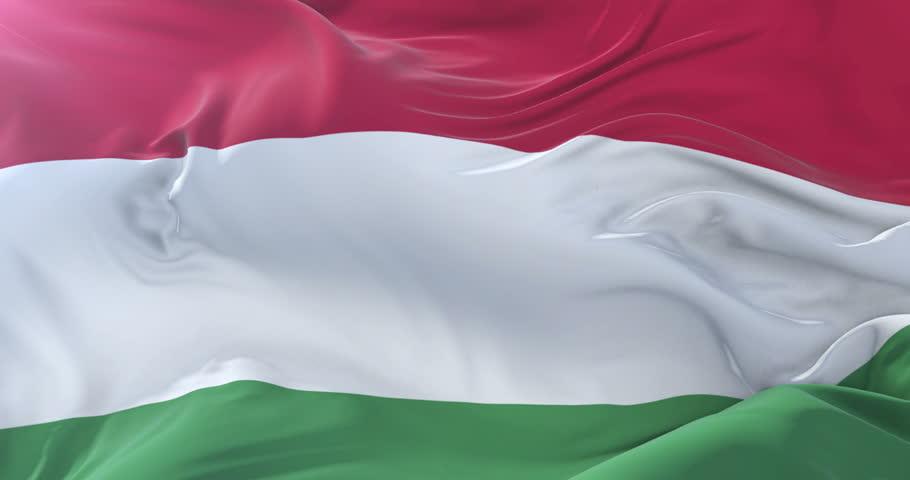 Flag of Hungary waving at wind in slow in blue sky, loop