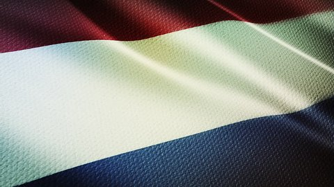 Holland Country flag animation stock footage. Holland Country flag animation waving in the breeze with cotton texture and in close up.