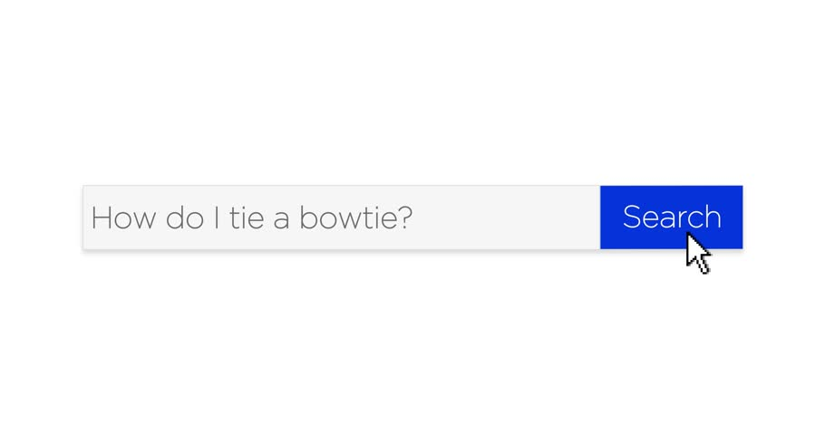 A graphical web search box asking the question,