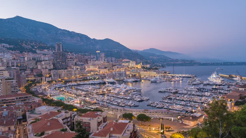 Monaco Ville city skyline day to night timelapse, Monte Carlo, Monaco 4K Time lapse