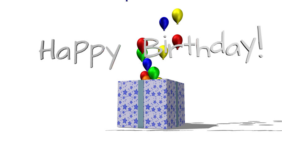 "3D animation of a wrapped gift opening to reveal colorful balloons and letters which form a ""Happy Birthday!"" title. Rendered against the transparent background."