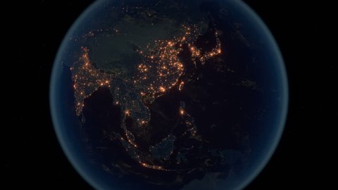 Zoom to the Far East. The Night View of City Lights. World Zoom Into Eastern Asia - Planet Earth. Political Borders of East Asian Countries: China, Japan, Mongolia, Korea. Super Detailed Space View.