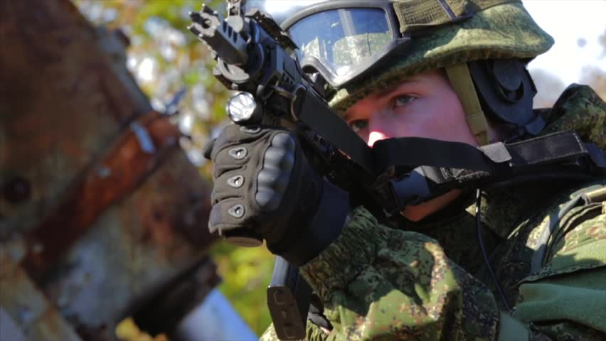 Soldier Aiming With Automatic Rifle Stock Footage Video 100 Royalty Free 33197599 Shutterstock