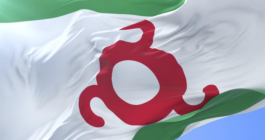 Flag of Ingushetia waving at wind in slow in blue sky, loop | Shutterstock HD Video #33197809