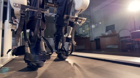 A close front view on a worn exoskeleton station in use.