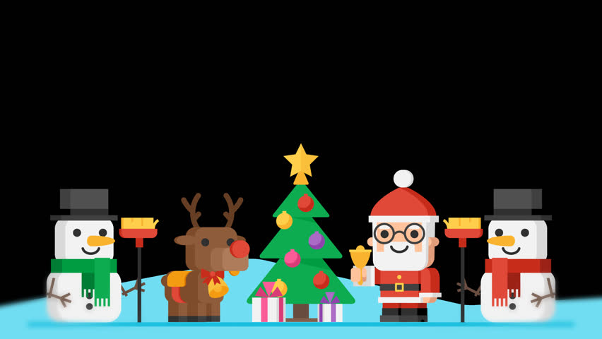 Merry christmas concept santa claus reindeer snowmen and christmas vignette concept santa claus reindeer snowmen and christmas tree motion graphics video greeting m4hsunfo Images
