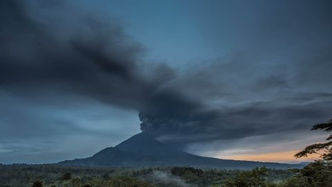 Eruption of mountain Agung volcano in east Bali, Indonesia