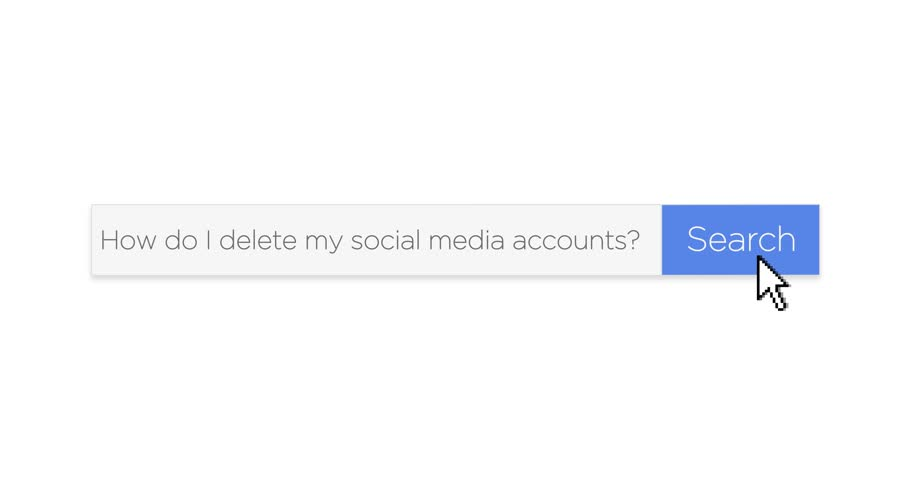 "A graphical search engine style web search box asking the question, ""How do I delete my social media accounts?"" With optional luma matte."
