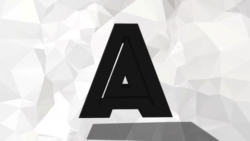 Black/grey rotating 3d letter. 3d alphabet. Alphabet on white triangle wallpaper/background. Black and white.
