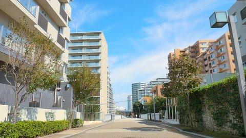 Apartment complex, condominiums in the suburb of Tokyo, Japan