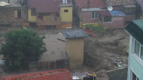 Global warming rain flood and storm. Rain flood in Bulgaria, Varna
