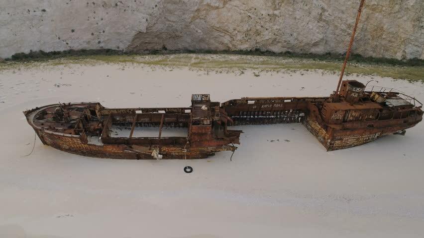 Aerial Footage Shipwreck Bay Navagio Beach, Zakynthos