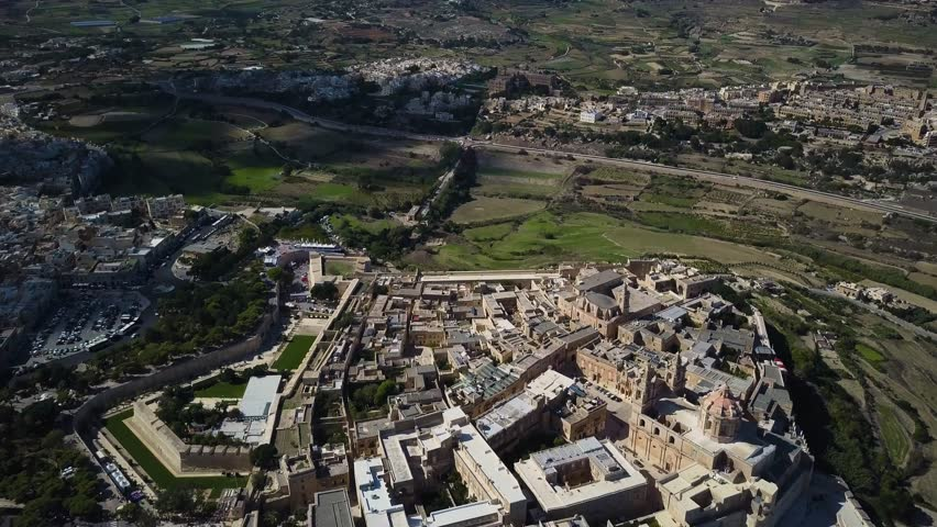 4k aerial drone  - Ancient medieval city of Mdina, Malta.  This fortress complex is the old capital city of Malta.   | Shutterstock HD Video #33275629