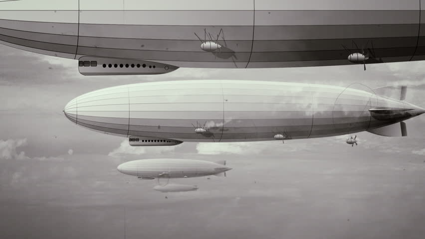 Legendary huge zeppelin airship on sky with clouds. Black and white retro stylization, old film. Flying balloon animation. Big dirigible, spinning propellers and rudder. Long zeppelin, rigid airship.