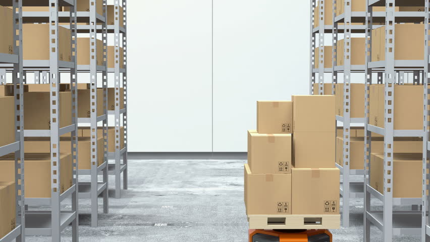 Orange robot carriers carrying goods in modern warehouse.  Modern delivery center concept. 3D rendering animation.