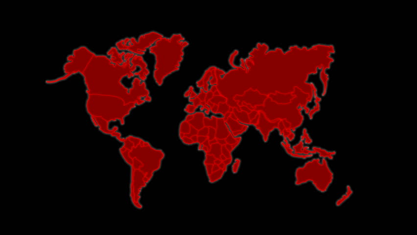 World map high tech digital satellite data view war room loop red 4k animation map on dark abstract background for futuristic technology concept 4k stock footage clip gumiabroncs Images