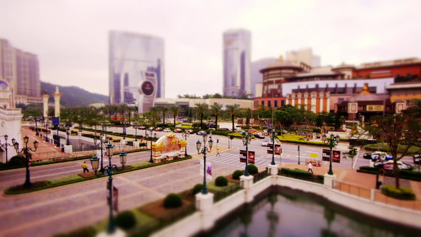 Miniature Tilt Shift Traffic Intersection on Cotai Strip (Casino District) in Macau