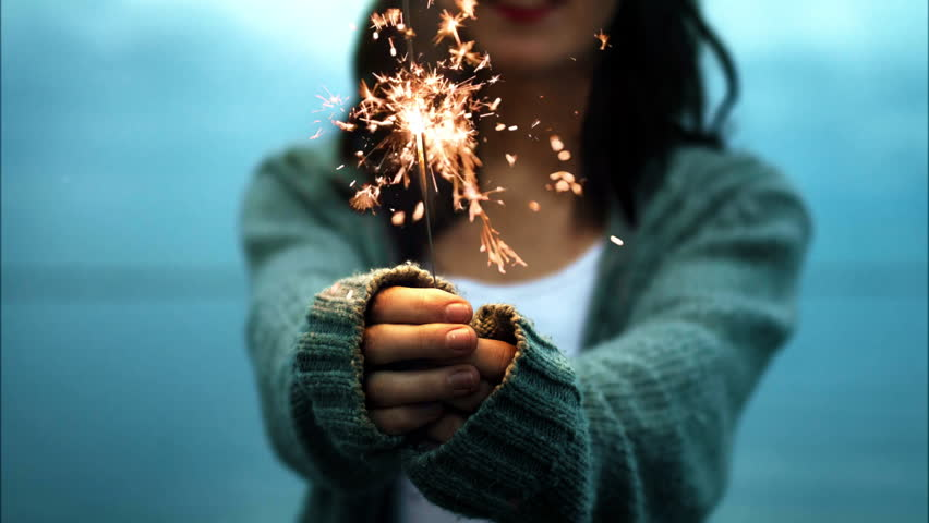Girl with sparkler cinemagraph 4k