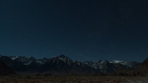 Mt Whitney Night stars Time Lapse from Lone Pine CA 4k from 6K source 4444