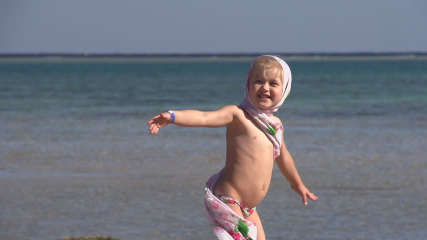 Little Girl On The Beach Super Slow Motion Hd Stock Video Clip