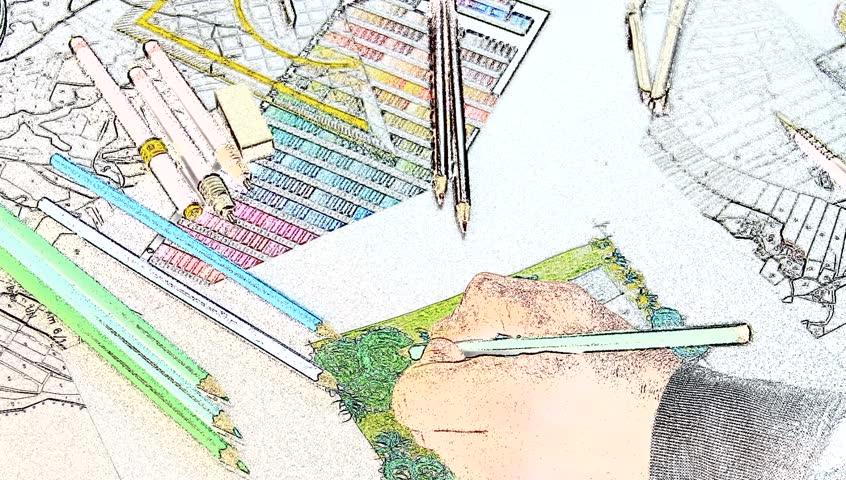 landscape architect design l shape garden plan, panning right