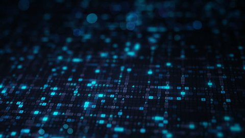 Blue hexadecimal big data digital code. Futuristic information technology concept. Computer generated seamless loop animation 4k (4096x2304)