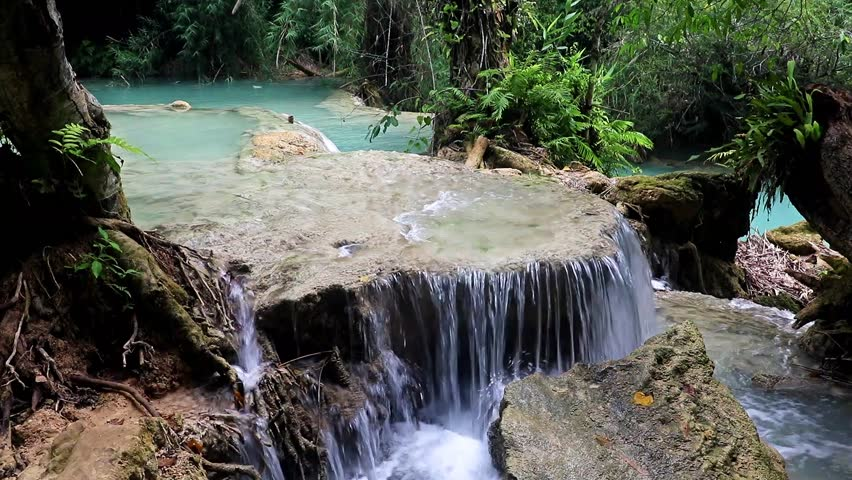 The Kuang Si Falls, known as Tat Kuang Si Waterfalls Luangprabang, Laos.
