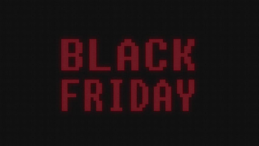 flashing red black friday warning word text on digital black computer lcd led screen seamless loop animation - new quality technology colorful joyful vintage dynamic motion video footage