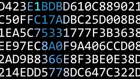 SAP SE logo made of flashing hexadecimal symbols on computer screen. Editorial 3D rendering
